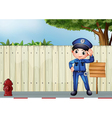 A police officer beside an empty wooden signage vector image vector image