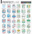 office stationery - modern flat line concept vector image