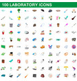 100 laboratory icons set cartoon style vector image