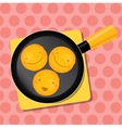 Smiling pancake on a pan for breakfast staying on vector image
