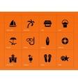 Beach icons on orange background vector image