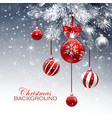 christmas card with red balls and snow vector image