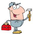 handy man with tool box vector image