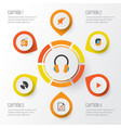 multimedia flat icons set collection of media vector image