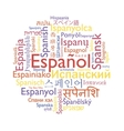 Spanish language word collage vector image