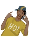 Young african american man dj hip-hop eps10 vector image