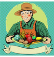 pop art of happy farmer with vector image