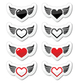 Heart with wings icons set vector image vector image