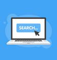 mouse cursor clicks search button laptop notebook vector image