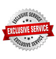 exclusive service 3d silver badge with red ribbon vector image