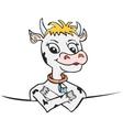 Cow behind board vector image