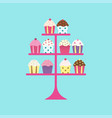 cupcakes on stand vector image