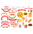 fast food meal isolated icons ribbons set vector image