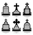 gravestone set - tombstones silhouettes vector image