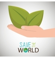 save the world hand with plant vector image