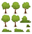 trees hedges and bush set vector image