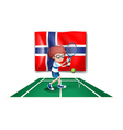 The flag of Norway at the back of the tennis vector image vector image