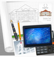 architecture and technological elements vector image vector image