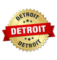 Detroit round golden badge with red ribbon vector image