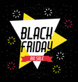 black friday sale banner with explode sparkles vector image