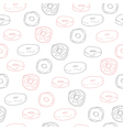 Cute seamless pattern with donuts vector image