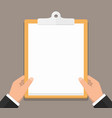 hands with clipboard vector image