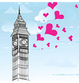 I love You London Poster Design and valentine hear vector image