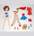Paper Brunette Retro Doll vector image