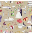 Seamless pattern with wedding icons vector image