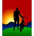 The man with the bike vector image