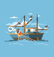 Fisherman pulls fishing net vector image