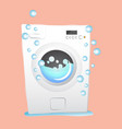 red washing machine in flat style isolated on vector image