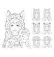 cute girl with long hair in different animal hats vector image