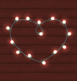 Garland heart shaped on wooden background for vector image vector image