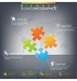3D Puzzle piece infographics on dark background vector image