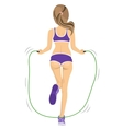 back view of young fitness woman jumping rope vector image