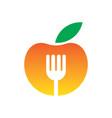 circle apple fork restaurant logo vector image