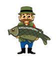 Fisherman Carrying Big Fish vector image
