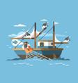 fisherman pulls fishing net vector image