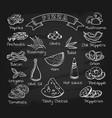 pizza ingredients set on chalkboard vector image