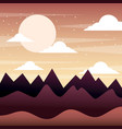 sunset landscape mountains silhouette sky clouds vector image