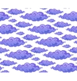 Violet curly cartoon style clouds seamless vector image