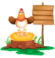 A chicken with a nest above a trunk near a signage vector image vector image
