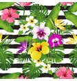 tropical flowers and leaves on striped background vector image vector image