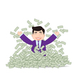 Successful Business Man Mountain Money vector image vector image