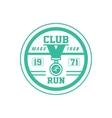 Running Club Green Label Design vector image vector image