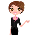Business woman showing something with hand vector image