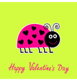 Lady bug with dots hearts Valentines Day vector image