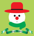 merry christmas - snowman and ribbon vector image