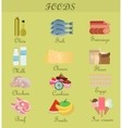 Shopping product foods Flat decorative icons set vector image
